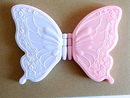 2役 コンパクトミニミラー 2枚セット 両面 蝶