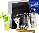 Andrew James Premium Cocktail Set Including Boston Cocktail Shaker and Glass, Twisted Bar Spoon, Strainer, Wooden Muddler, 25ml and 50ml + 192 Page Cocktail Book. Complete In An Elegant Gift Box