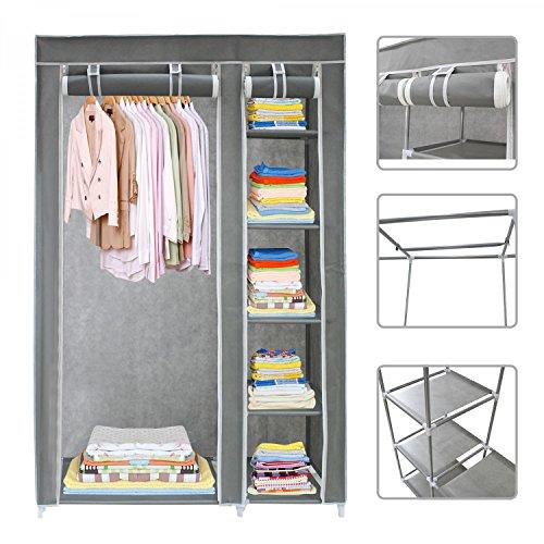 Grauer-Kleiderschrank-aus-Stoff-Garderobe-mit-Reiverschluss