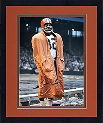 "Framed Jim Brown Cleveland Browns Autographed 16"" x 20"" In Raincoat Photograph - Fanatics Authentic Certified"