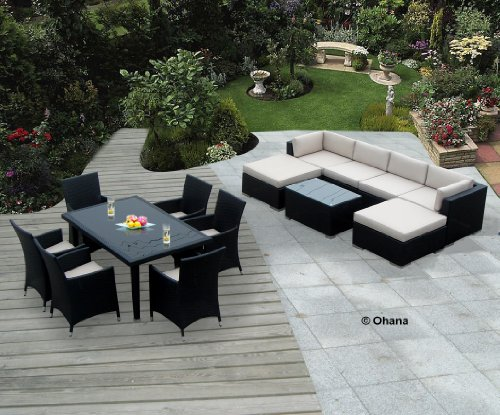 Dining Wicker Patio Furniture Set (14 pc set) with Free Patio Cover