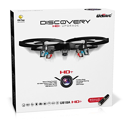 UDI-818A-HD-RC-Quadcopter-Drone-with-HD-Camera-and-Headless-Mode-24GHz-4-CH-6-Axis-Gyro-RTF-Includes-BONUS-BATTERY-POWER-BANK-Quadruples-Flying-Time