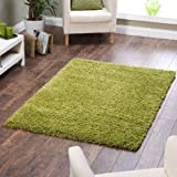 "Shaggy Rug Lime Green 963 Plain 5cm Thick Soft Pile 80cm x 150cm (2ft 6"" x 5ft 0"") Modern 100% Berclon Twist Fibre Non-Shed Polyproylene Heat Set - AVAILABLE IN 6 SIZES by Quality Linen and Towels"