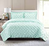 Pur Luxe PinTuck Quilt Set, Full/Queen, Solid, Sea Glass