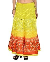 Aura Life Style Women's Cotton Bandhej Skirt (ALSK3031B, Multi , Free Size)