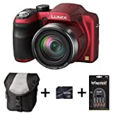 Panasonic Lumix DMC-LZ30 - Red + Case + 8GB Memory + 4 AA Batteries and Charger(16.1MP, 35x Optical Zoom, 25mm Wide Angle, Panaroma Shot, HD Video) 3 inch LCD
