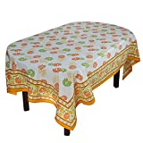 "Handmade Indian 60"" X 84"" Rectangular Tablecloth - Beautiful Orange, Green And Yellow Floral Cotton"