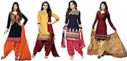ensassy Women's Cotton Printed casualwear salwar suit dress material combos of 4 (btkcoton22a_multicolor_freesize)