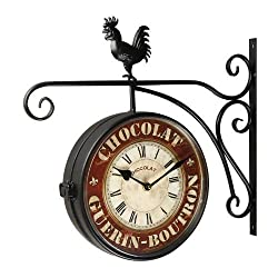 Adeco Black Iron Round Chocolate Double-Sided Wall Hanging Clock with Scroll Wall Mount and Rooster Home Decor