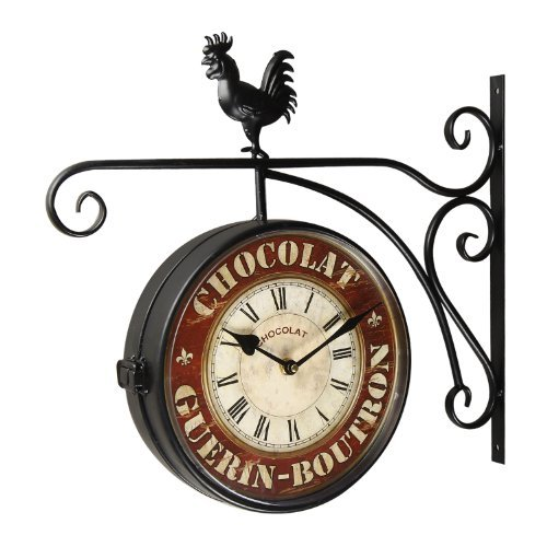 Adeco Black Iron Vintage-Inspired Round Chocolat Double-Sided Wall Hanging Clock with Scroll Wall Mount and Rooster Detail Home Decor, Garnet, red