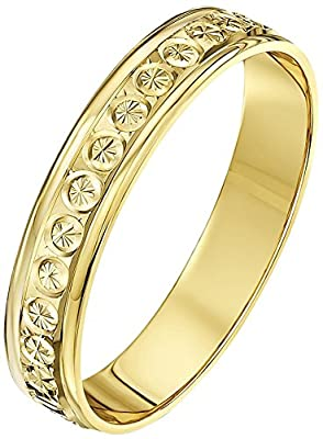 Theia 9ct Gold - Super Heavy Weight Flat Shape Diamond Like Design Wedding Ring for Men or Women