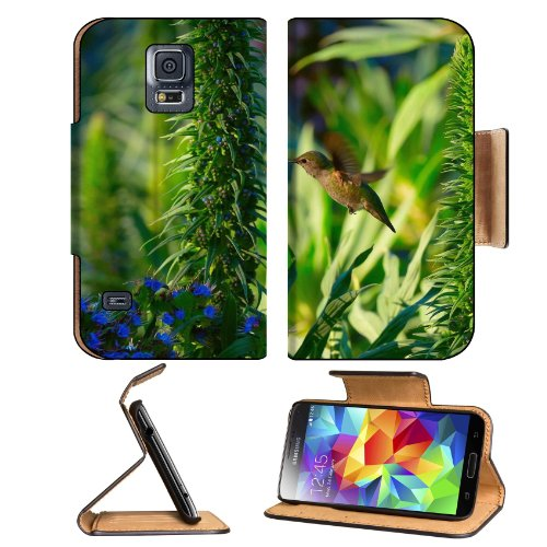 Nature Purple Flowers Small Hummingbird Samsung Galaxy S5 Sm-G900 Flip Cover Case With Card Holder Customized Made To Order Support Ready Premium Deluxe Pu Leather 5 13/16 Inch (148Mm) X 2 1/8 Inch (80Mm) X 5/8 Inch (16Mm) Msd S V S 5 Professional Cases A
