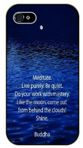 iPhone 5 / 5s Meditate. Live purely. Be quiet. Do your work with mastery. Buddha - Black plastic case / Inspirational and motivational life quotes