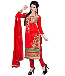 Hari Packaging Red Chanderi Unstitched Dress Material