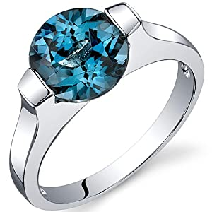 Bezel Set 2.25 carats London Blue Topaz Engagement Ring in Sterling Silver Rhodium Finish Size 7, Available in Sizes 5 thru 9