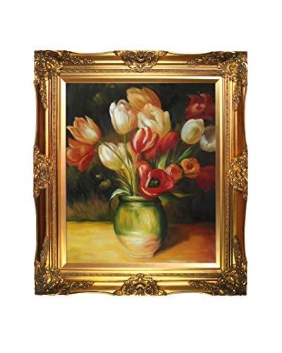 Pierre-Auguste Renoir Tulips In A Vase Framed Canvas