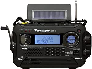 Kaito Voyager Pro KA600 Digital Solar Dynamo Crank Wind Up AM/FM/LW/SW & NOAA Weather Emergency Radio with Alert & RDS, Flashlight and Reading Lamp + Smart Phone Charger, Black