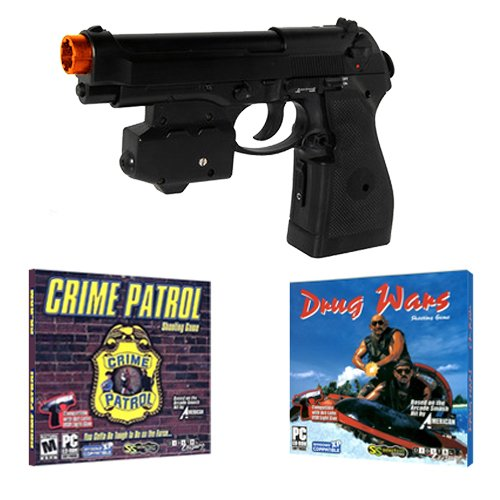 EMS Top Gun 3 Cime Patrol PC Game Pack - Wireless Light Gun for PC, MAME, PS2, PS3, and XBOX on ANY Display Including CRT, LCD, Plasma, HD TVs and Projectors! (Pc Light Gun compare prices)
