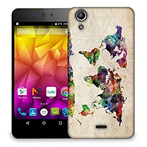 Snoogg Paint World Map Designer Protective Back Case Cover For Micromax Canvas Selfie Lens Q345