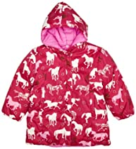 Hatley Girls 2-6X Reversible Jacket-Plaid Horses, Pink, 8