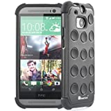 GreatShield DOMINO Polka-Dot Dual Layer Hybrid Case for HTC One (M8) 2014 - Retail Packaging (Black) by GreatShield
