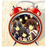 XINGQU Clannad Anime Colorful Design Twin Bell Alarm Clock, Red