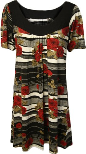 Womens Plus Size Red Black Floral Print Scoop Ladies Short Sleeve Tunic Top Sizes 12 - 30