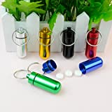 Outop 6pcs Waterproof Aluminum Pill Box Case Bottle Cache Drug Holder Keychain Container Colorful