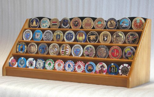 Discover Bargain 4 Rows Challenge Coin Casino Chip Display Rack Holder Stand -Oak