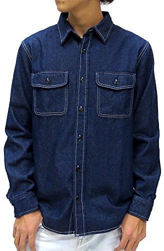 (マルカワジーンズパワージーンズバリュー) Marukawa JEANS POWER JEANS VALUE デニムシャツ メンズ 長袖 シャツ リラックスフィット 8OZデニム 3color L ネイビー