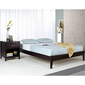 Modus Furniture Modus Nevis Simple Platform Bed in Espresso 4 Piece Bedroom Set