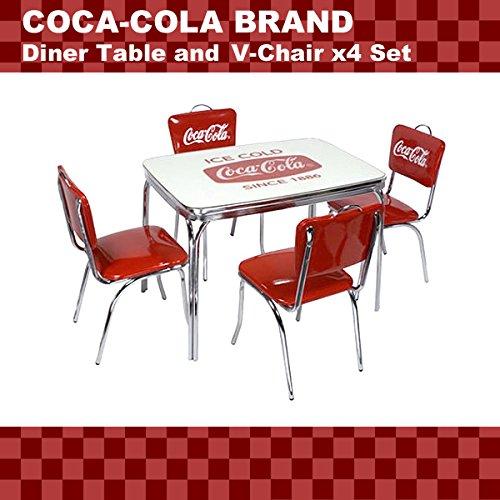 【セットでお得】★アメリカンダイナー COCA-COLA BRAND コカコーラブランド ダイナーテーブル&Vバックチェア×4脚セット(PJ-600DL、PJ-50HC×4)