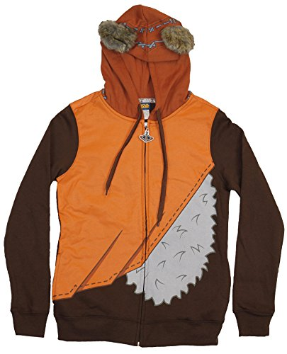 [Star Wars Girls Juniors Hoodie - Costume Style Ewok Zip Up Hoodie (Extra Large) Brown] (Ewok Star Wars Costume)