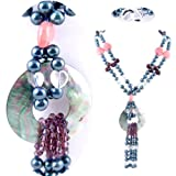Double Strand Necklace made of Freshwater Cultured Pearls, Jade, Crystals and Agate *** Augustina Jewelry Special Design !