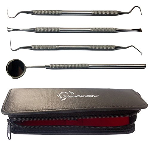 PrimeDentalPro Dentists Tools Kit Bundle with Dental Mirror, Tartar Remover, Dental Pick, Scraper and Case