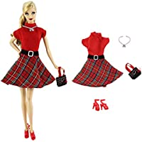 4in1 Set Fashion Outfit Clothes Dress+Bag+Necklace+Shoes For Barbie Doll
