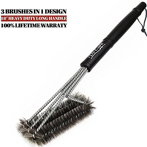 "Learn More About iDoCare BBQ Grill Brush - 18"" - 3 Stainless Steel Brushes in 1 - Best Barbecue..."