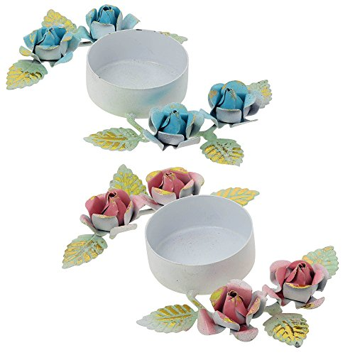 Set Of 2 Christmas Candle Tea Lights Holders Colorful Floral Decorations