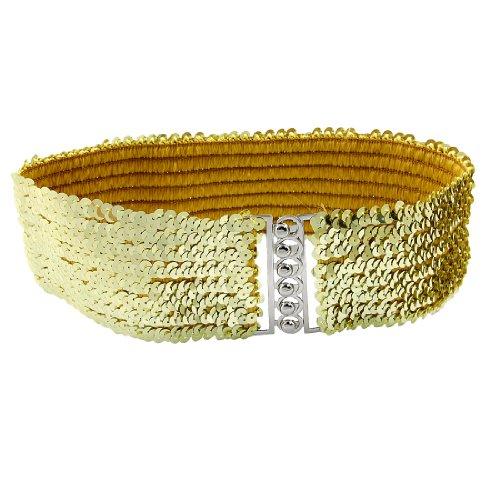 Women Paillettes Elastic Dress Blouse Cinch Belt Gold Tone