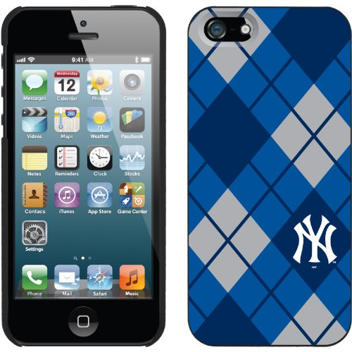Best Price New York Yankees - Argyle design on a Black iPhone 5 Thinshield Snap-On Case by Coveroo