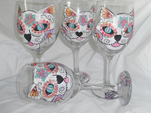 Hand Painted sugar skull cat and fish