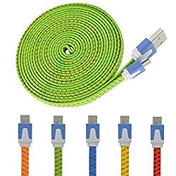 Eversame 5Pcs/Lot 10Ft 3M Multi-color Ruggedized Braided Fabric Flat Micro USB 2.0 Charging Data Cable Cord For Samsung Galaxy S6/4/3/2 Note 4/2 HTC M9 M8 EVO One X S NOKIA Lumia PDA X-BOX Xbox One Motorola, LG Optimus G3, Go