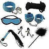 Paloqueth Sex Werkzeuge 7 Stück unter dem Bett Restraint System Slave Bondage Kit S&M Fesseln Blindfold + Handschellen + Federkitzler + Bondageseil 10M + Nipple Clamps + Feather Tick + Halsbänder (Blau)