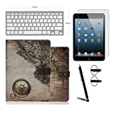 Boriyuan New Apple iPad Air 2 (Launched Oct. 2014) Free Screen Protector+ Stylus + Wireless Keyboard+ New Apple iPad Air 2 (Launched Oct. 2014) Black Night /Chic Retro Vintage Luxury Leather Case Cover With Built-in Stand / Smart Cover Auto Wake & Sleep