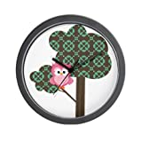 Lightweight Black Plastic Framed Pink Hoot Owl in a Patterned Tree Wall Clock 10