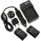 MaximalPower FC500 Travel Charger with Two Replacement Battery for Nikon EN-EL20, Nikon One and Black Magic Design Pocket Cinema Cameras