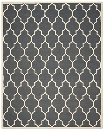 Safavieh Cambridge Collection CAM134X Handmade Dark Grey and Ivory Wool Area Rug, 8 feet by 10 feet (8' x 10')