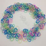 "Glitter Rainbow Rubber Loom Rainbow Bands Assorted Colors 600 Pieces with 24 ""S"" Clips"