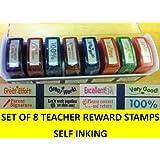 SET 8 REWARD STAMPS SELF INKING IN BOX. SCHOOL STUDENT TEACHER AID INSPIRE WORK