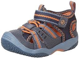 Stride Rite Baby Riff Water Sandal (Infant/Toddler),Navy/Orange,5 M US Toddler